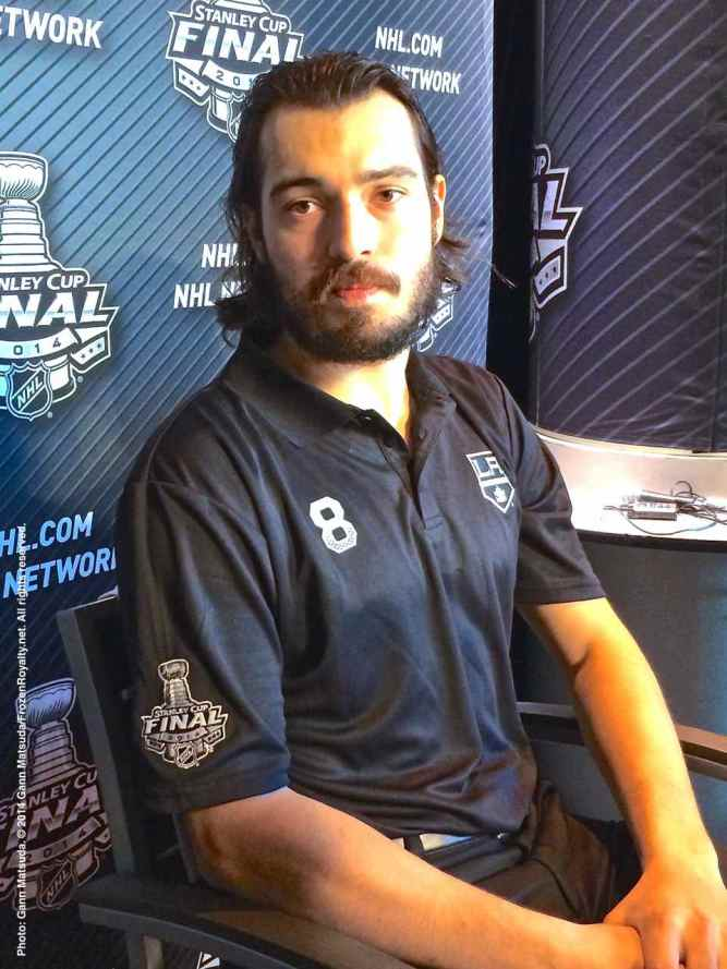 Los Angeles Kings defenseman Drew Doughty, shown here speaking to the media during the 2014 Stanley Cup Final Media Day at Staples Center in Los Angeles, June 3, 2014.