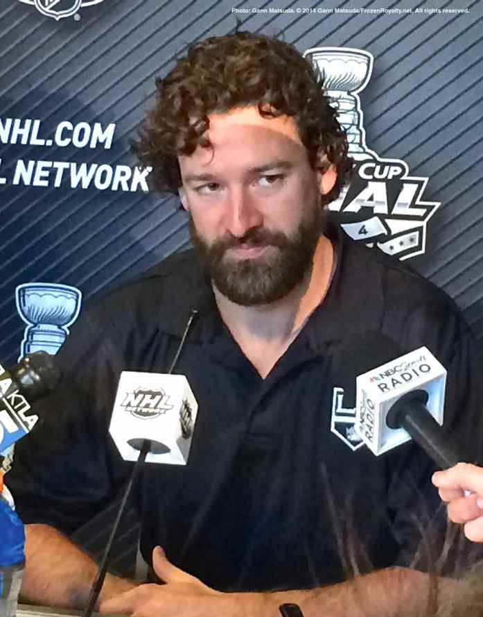 Los Angeles Kings right wing Justin Williams, shown here speaking to the media during the 2014 Stanley Cup Final Media Day at Staples Center in Los Angeles, June 3, 2014.