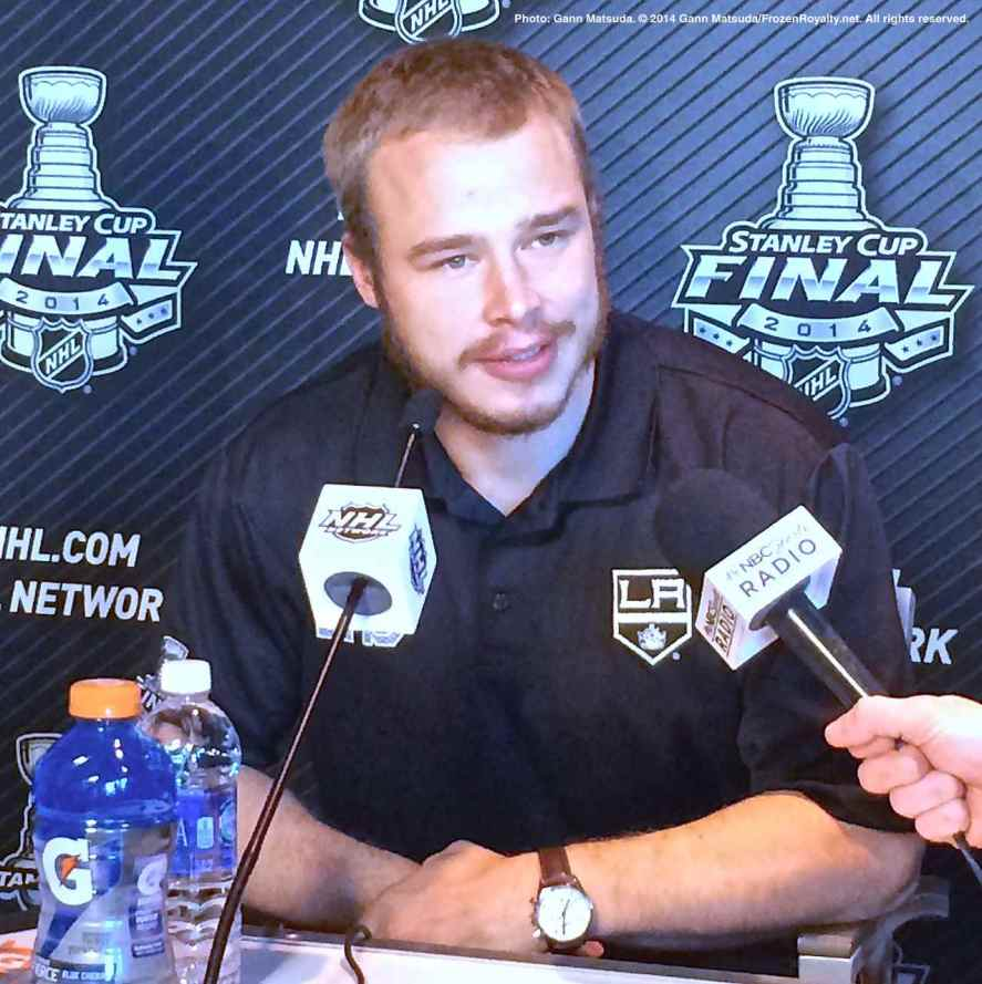 Los Angeles Kings winger and captain Dustin Brown, shown here speaking to the media during the 2014 Stanley Cup Final Media Day at Staples Center in Los Angeles, June 3, 2014.