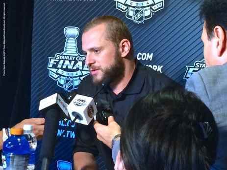 Los Angeles Kings left wing Marian Gaborik, shown here speaking to the media during the 2014 Stanley Cup Final Media Day at Staples Center in Los Angeles, June 3, 2014.