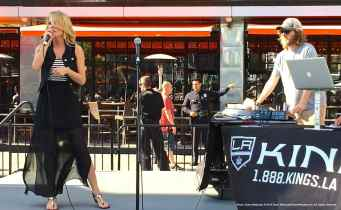 LA Kings Arena Host Carrlyn Bathe (left) and Music Director Dieter Ruehle (right).