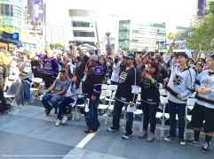 Fans watching the pre-game festivities on the NBCSN broadcast