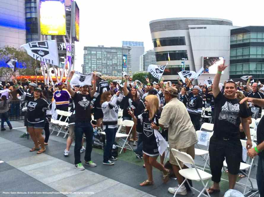 Fans celebrating LA Kings winning Game 3, 3-0, taking a 3-0 lead in the series.