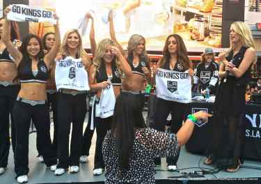 LA Kings Ice Crew celebrating the Game 3 win by the Kings