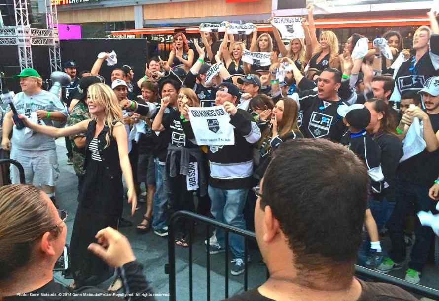 KingsVision host Carrlyn Bathe shooting a spot with Kings fans after the Game 3 win.