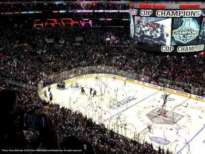 View from the press box immediately after defenseman Alec Martinez scored at 14:43 of the second overtime period to clinch the 2014 Stanley Cup Championship