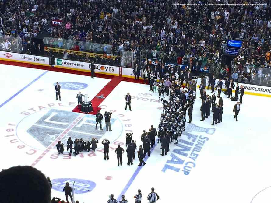 View from the press box: NHL Commissioner Gary Bettman is about to present the Stanley Cup to Los Angeles Kings captain Dustin Brown