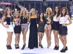 Some of the members of the LA Kings Ice Crew. From left: Hannah, Niki, Ally, Amanda, Eilene, Ashley, Jacquelyn and Becky
