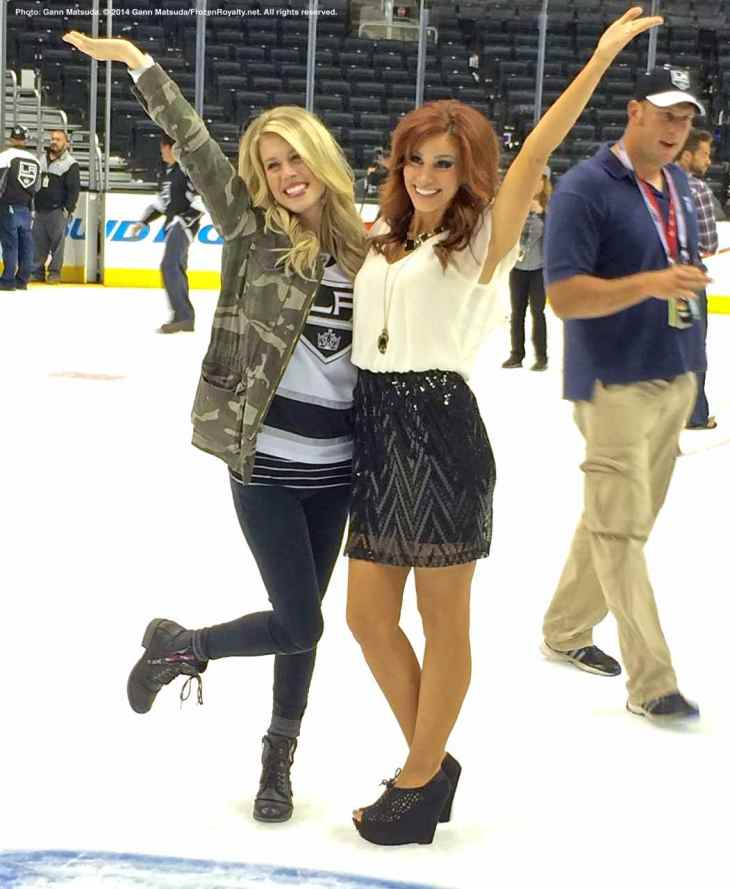 LA Kings in-arena host Carrlyn Bathe (left) with LA Kings Ice Crew member Becky (right)