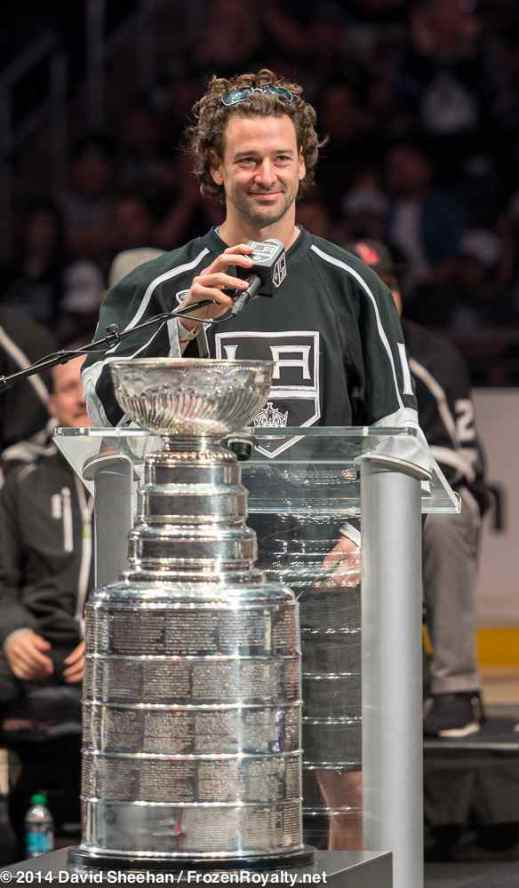 Right wing Justin Williams addresses the crowd inside Staples Center during the LA Kings 2014 Stanley Cup Championship rally