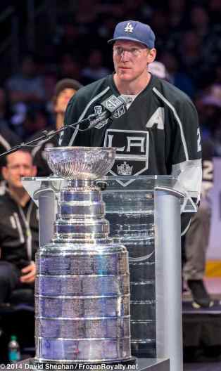 Defenseman Matt Greene addresses the crowd inside Staples Center during the LA Kings 2014 Stanley Cup Championship rally