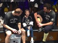 LA Kings forward Marian Gaborik (left) and right wing Justin Williams (right) chat with nine-year-old cancer patient Grace Bowen
