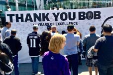 Fans were able to write a congratulatory note to Bob Miller prior to the final home game of his career.
