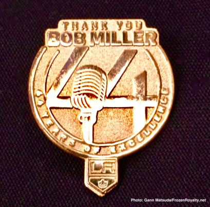 Lapel pin honoring Bob Miller and his legendary 44-year career.