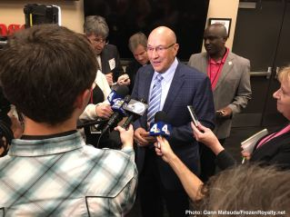 Following his final home game broadcast, Bob Miller met with the local media horde.