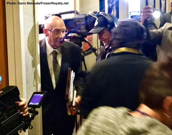 Bob Miller leaves the broadcast booth at Honda Center in Anaheim after the final broadcast of his career.